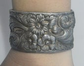 SALE 52% OFF Antique Silverplated Floral Victorian Art Nouveau Wide Repousse Cuff Bracelet Statement Spoon Ring Victorian Embossed Chased Ha