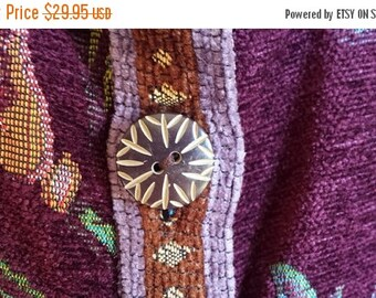 Womens Plus size jacket, Sag Harbor, size 18, tapestry jacket, carpet jacket, purple, teal, green yellow, gold yellow brown, 2 pockets