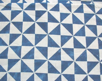 Indigo Cotton Fabric Pinwheel Geometric Print Hand Printed Fabric Yardage
