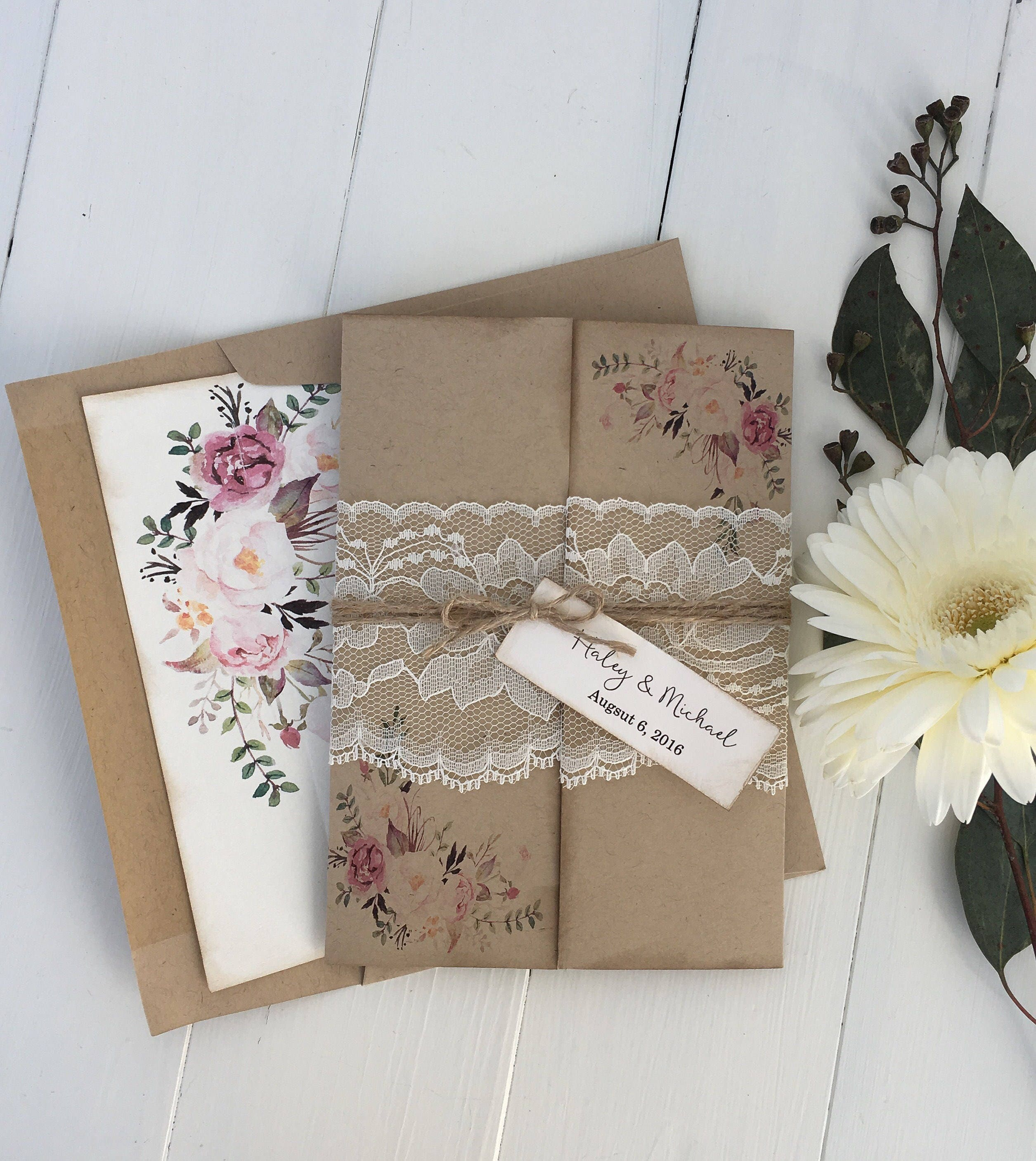 Rustic Wedding Invitation. Lace Wedding Invitation. Floral