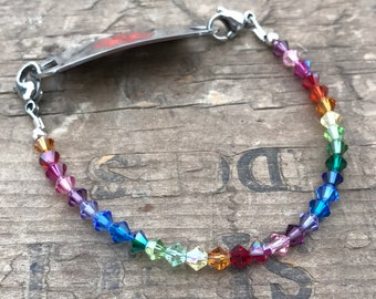colorful Medical Bracelet Rainbow Crystals & Sterling Silver- Includes FREE Medical ID tag with Engraving