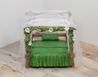 Enchanted Lace Fairy Canopy Bed - terrarium miniature garden gnome pixie faerie