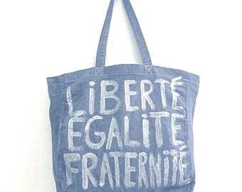 CUSTOM Liberté Égalité Fraternité French cotton TOTE Bag / EVEDAMONFrance