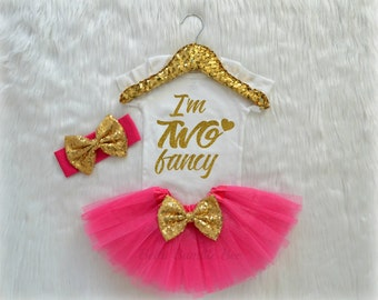 Baby Girl Second Birthday, Im Two Fancy Hot Pink and Gold, Birthday Tutu Headband Set, Bodysuit Tshirt 258