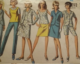 Vintage Simplicity 7019 Sewing Pattern Size 12 Bust 32 Jacket, Skirt, Overblouse, and Pants in Two Lengths