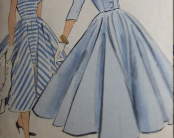 Vintage Vogue 9222 Sewing Pattern Size 14 One-Piece Dress and Jacket  with Full Circular Skirt