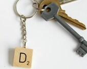 Scrabble Inspired Letter Keyring, Personalised Initial Keychain, Wooden Keyring, Scrabble Inspired Gift, Scrabble Christmas Gift
