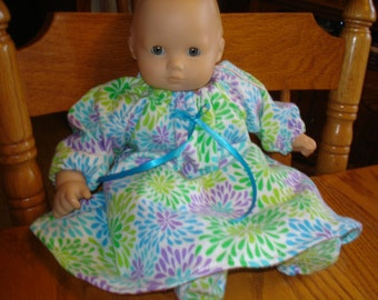 Flannel Long Nightgown and Slippers,  like Bitty Baby or any 15 inch doll