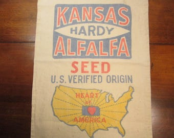 Vintage Seed Sack, Kansas Hardy Alfalfa, Canvas Grain Sack