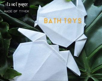 Modern bath toys, turtle bath toys, origami toys, folded bath toys