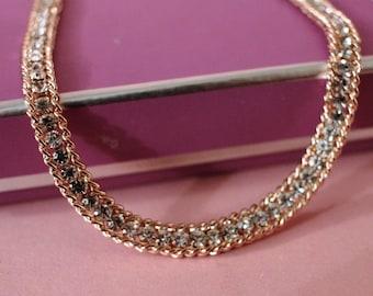 Vintage Glamorous Gold Diamante Crystal Choker Necklace