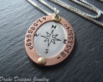 Custom coordinates graduation gift for her personalized with custom coordinates compass necklace inspirational gift for her