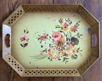 Large tole toleware metal tray handled hand painted floral on golden yellow reticulated sides shabby cottage chic home decor serving