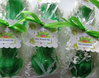 10 Frog Party Soap Favors, Luck, Love, Princes, Special Occasions, Kissing Frogs