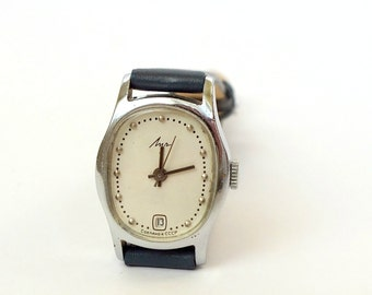 Rare Women's Watch LUCH (Ray) With Date Calendar. Mechanical  Ladies Wrist Watch 17 jewels. Vintage Watch For Women 70s. Leather Strap Watch