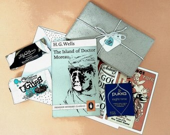 Beautiful Vintage Penguin Book Gift Boxes ~ Gents Choice ~ Luxury Irish Chocolates & Herbal Tea ~ Unique Gift for Book Lovers. Valentines