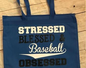 Baseball Obsessed Large Zipper Tote