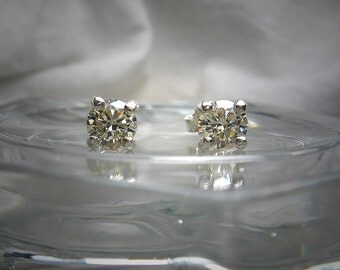 High Quality Light Canary 5mm Round Brilliant Cut Cubic Zirconia Sterling Silver Stud Earrings