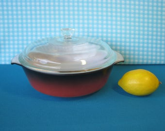 Fire King Anchor Hocking Casserole Dish - Ombre - 1.5 Quart - #437 - Lid - Mid Century Vintage 1950's