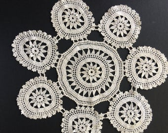 Vintage Set of 3 Handmade Cotton Lace Doilies table Runner set