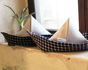 Origami fabric boats, large nautical decor, origami home decor, nautical bathroom decor,  Nautical Pillow, blue and white, wedding