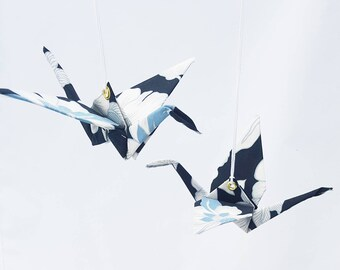 Origami cranes mobile, Fabric origami, blue & white, Japanese fabric, wedding mobile, wedding gift, anniversary cotton, gifts for couples