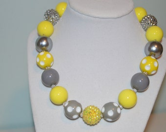 Yellow and Gray Chunky Bubblegum Necklace
