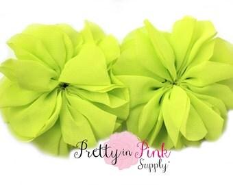 Lime Large Double Ruffle Flowers...Chiffon Flower...Chiffon Ruffle Flowers...DIY Headbands...Wholesale
