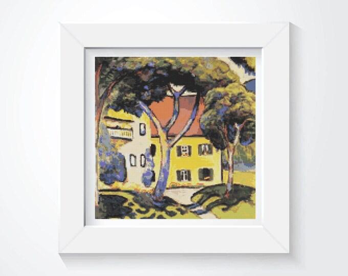 Cross Stitch Pattern PDF, Embroidery Chart, Art Cross Stitch, Architecture, House in a Landscape by August Macke (MACKE04)