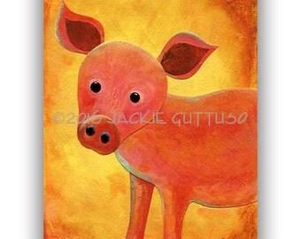 "Pig art, Farm nursery art, Archival print 5 x 7"",  Colorful farm animal collage, Pink pig, Farm kitchen decor, Acrylic pig painting print"