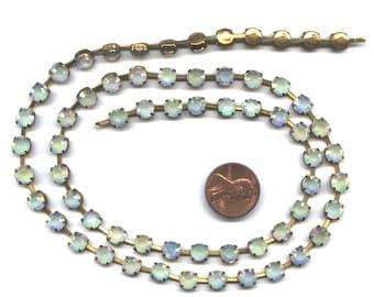 """21"""" Vintage Crystal AB Acrylic 6mm. Rhinestone Brass Chain Section R180"""