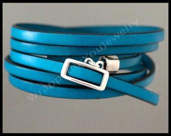 "Turquoise LICORICE Leather Wrap Bracelet - Up to 47"" Long Adjustable Multi Wrap Spanish European Leather Greek Buckle Clasp Bracelet"