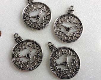 Antique silver tone clock charm pendants