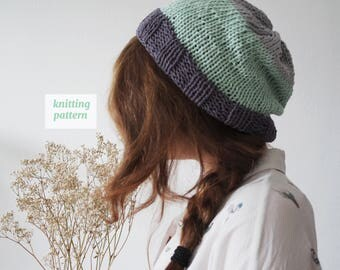 Color Block Beanie Knitting Pattern, Simple Pattern, D.I.Y. Hat, Summer Beanie
