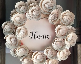 "Paper Book Wreath with Handwritten ""Home"" / Farmhouse Home Sign with Vintag  Paper Roses / Paper Wreath"