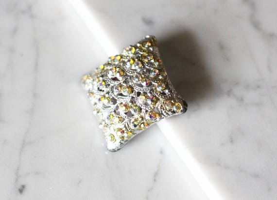 1950s diamond rhinestone brooch // silver brooch // vintage brooch