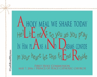 First Communion Boy Gift From Godparents Christian Gifts Religious Wall Art Personalized Poem Inspirational Kids Printable 8x10 Alexander