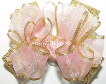 Blush Pink Gold Hair Bow, Baby Alligator Clip, 3 Inch Bows, Tiny Mini Clips, Girls Toddler Pigtail Barrettes, Sheer Satin Metallic Clippie