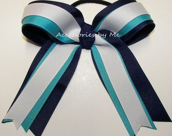 Bulk Price, Blue Ponytail Cheer Bow, Navy Turquoise White Ribbons Streamer Bows, Softball Bows, Volleyball Bow, Soccer Bows, Gymnastic Bows