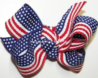 Patriotic Hair Bow, USA Flag Clip, Girl Baby Toddler Small Alligator Clippie, Pageant Dance Recital, US Gymnastic Bows, 4th of July Cheerbow
