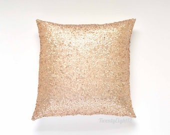 "Sequin Pillow Cover - Champagne Sequin - 20"" x 20"", Decorative Pillow, Throw Pillow, Sparkle Pillow, Champagne Gold Pillow, Sequin Pillow"