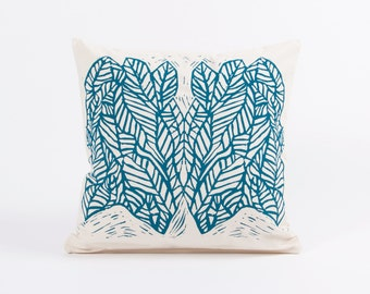 Green Leafs - Hand Screen Printed,  Natural Canvas Cushion Cover 45x45cm, Concealed Zip - by Mileseed