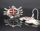 Sterling Silver Crab Earrings Dangle Coral Onyx Inlay 925 Jewelry Mexico