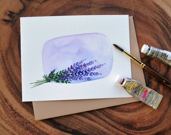 """Set of 3_Original_ hand painted _watercolor_Lavendar bunch blank greeting/ Get well/sympathy/ Thank you/ Birthday cards 4.5""""x5.5"""""""