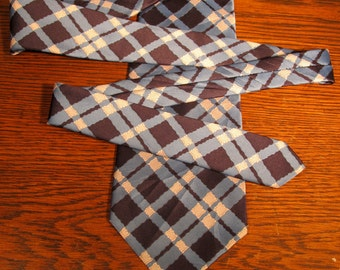 "Saks Fifth Avenue Vintage Short (54""), Wide Width (4.5"") Blue and White Wavy Plaid Tie"