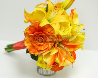 Tropical wedding bouquet, real touch wedding bouquets, orange bridal bouquet, tiger and stargazer lilies, tiger lily bouquet, ready to ship