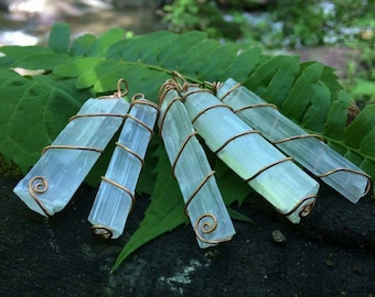 Wire Wrapped Selenite Pendant