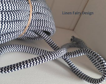3 meters Cotton Rope 10 mm Navy and White Arrow Cotton Cord With Filling for Crafts Jewellery Decorations Cotton Rope