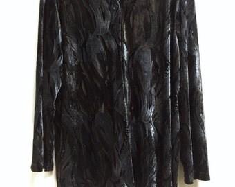 Gothic/Grunge/90s Velvet Burnout Duster Jacket
