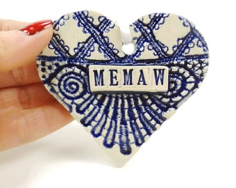 Memaw Heart Ornament, Mother's Day Gift, Valentine Heart, Grandmother Gift, Memaw Birthday, New Grandmother, Memaw Gift, Christmas Ornament